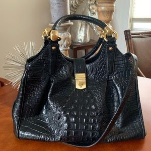 BRAHMIN Black Leather bag with crossbody strap